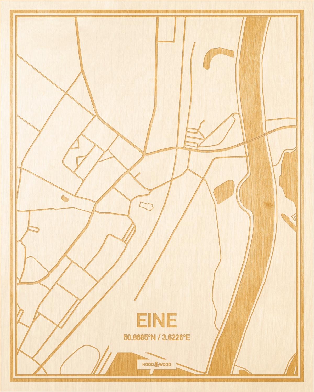 Het wegennet van de plattegrond Eine gegraveerd in hout. Het resultaat is een prachtige houten kaart van een van de leukste plekken uit Oost-Vlaanderen  voor aan je muur als decoratie.