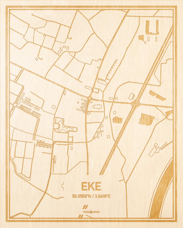 Het wegennet van de plattegrond Eke gegraveerd in hout. Het resultaat is een prachtige houten kaart van een van de leukste plekken uit Oost-Vlaanderen  voor aan je muur als decoratie.
