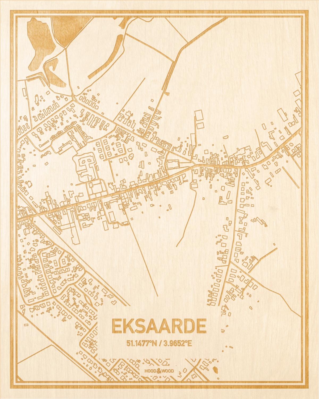 Het wegennet van de plattegrond Eksaarde gegraveerd in hout. Het resultaat is een prachtige houten kaart van een van de gezelligste plekken uit Oost-Vlaanderen  voor aan je muur als decoratie.
