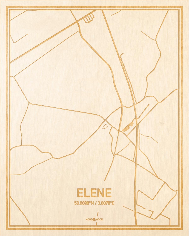 Het wegennet van de plattegrond Elene gegraveerd in hout. Het resultaat is een prachtige houten kaart van een van de charmantse plekken uit Oost-Vlaanderen  voor aan je muur als decoratie.