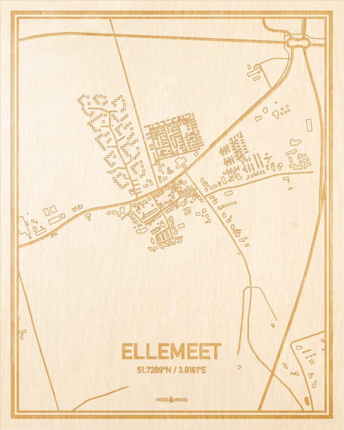 Het wegennet van de plattegrond Ellemeet gegraveerd in hout. Het resultaat is een prachtige houten kaart van een van de beste plekken uit Zeeland voor aan je muur als decoratie.