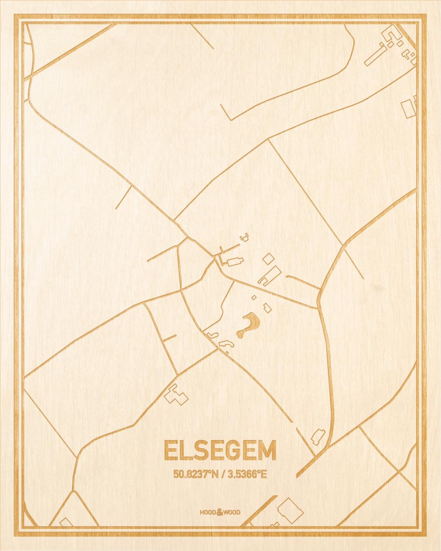 Het wegennet van de plattegrond Elsegem gegraveerd in hout. Het resultaat is een prachtige houten kaart van een van de beste plekken uit Oost-Vlaanderen  voor aan je muur als decoratie.