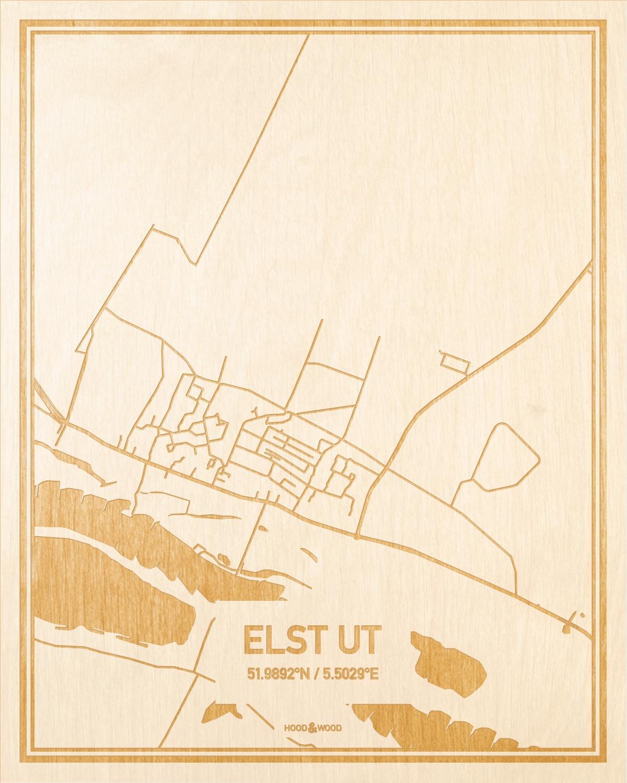 Het wegennet van de plattegrond Elst Ut gegraveerd in hout. Het resultaat is een prachtige houten kaart van een van de mooiste plekken uit Utrecht voor aan je muur als decoratie.