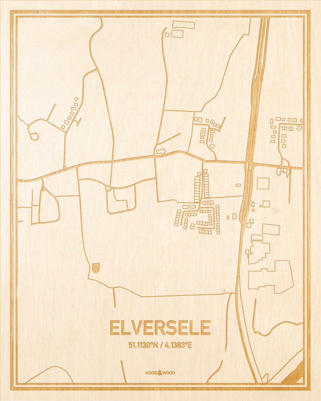Het wegennet van de plattegrond Elversele gegraveerd in hout. Het resultaat is een prachtige houten kaart van een van de beste plekken uit Oost-Vlaanderen  voor aan je muur als decoratie.