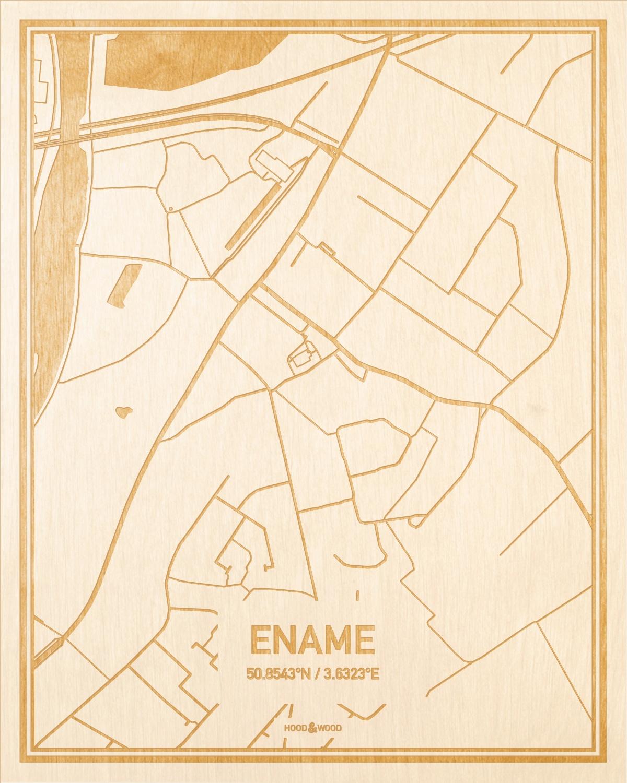 Het wegennet van de plattegrond Ename gegraveerd in hout. Het resultaat is een prachtige houten kaart van een van de leukste plekken uit Oost-Vlaanderen  voor aan je muur als decoratie.