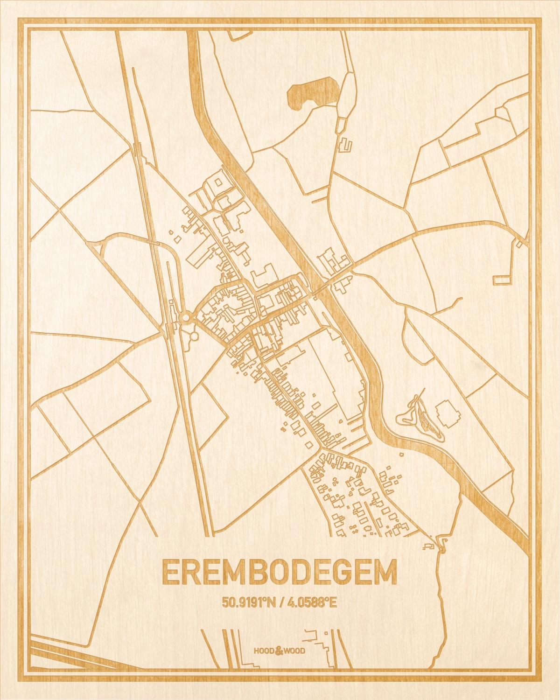 Het wegennet van de plattegrond Erembodegem gegraveerd in hout. Het resultaat is een prachtige houten kaart van een van de gezelligste plekken uit Oost-Vlaanderen  voor aan je muur als decoratie.