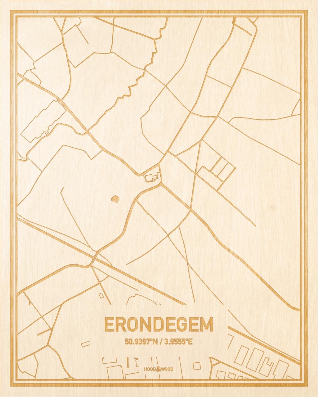 Het wegennet van de plattegrond Erondegem gegraveerd in hout. Het resultaat is een prachtige houten kaart van een van de mooiste plekken uit Oost-Vlaanderen  voor aan je muur als decoratie.