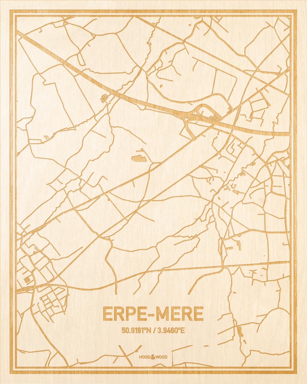 Het wegennet van de plattegrond Erpe-Mere gegraveerd in hout. Het resultaat is een prachtige houten kaart van een van de beste plekken uit Oost-Vlaanderen  voor aan je muur als decoratie.