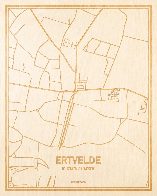 Het wegennet van de plattegrond Ertvelde gegraveerd in hout. Het resultaat is een prachtige houten kaart van een van de leukste plekken uit Oost-Vlaanderen  voor aan je muur als decoratie.
