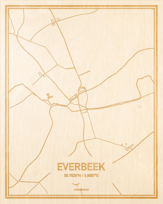 Het wegennet van de plattegrond Everbeek gegraveerd in hout. Het resultaat is een prachtige houten kaart van een van de mooiste plekken uit Oost-Vlaanderen  voor aan je muur als decoratie.