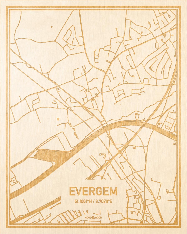 Het wegennet van de plattegrond Evergem gegraveerd in hout. Het resultaat is een prachtige houten kaart van een van de beste plekken uit Oost-Vlaanderen  voor aan je muur als decoratie.