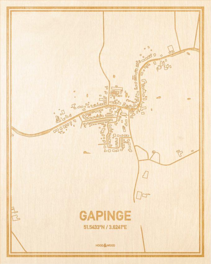 Het wegennet van de plattegrond Gapinge gegraveerd in hout. Het resultaat is een prachtige houten kaart van een van de leukste plekken uit Zeeland voor aan je muur als decoratie.