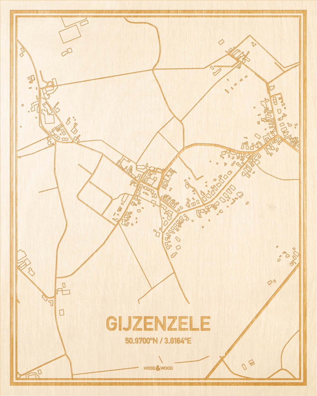 Het wegennet van de plattegrond Gijzenzele gegraveerd in hout. Het resultaat is een prachtige houten kaart van een van de gezelligste plekken uit Oost-Vlaanderen  voor aan je muur als decoratie.
