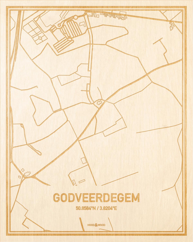 Het wegennet van de plattegrond Godveerdegem gegraveerd in hout. Het resultaat is een prachtige houten kaart van een van de charmantse plekken uit Oost-Vlaanderen  voor aan je muur als decoratie.