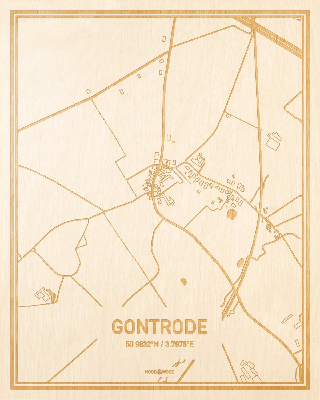 Het wegennet van de plattegrond Gontrode gegraveerd in hout. Het resultaat is een prachtige houten kaart van een van de beste plekken uit Oost-Vlaanderen  voor aan je muur als decoratie.