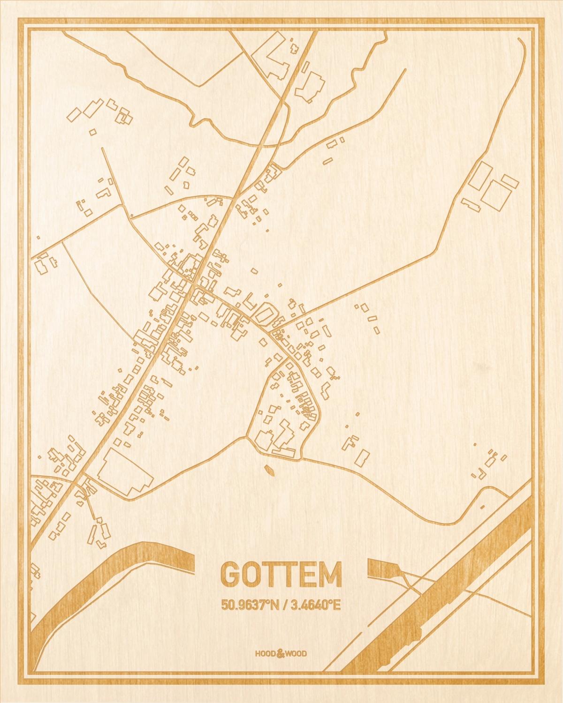 Het wegennet van de plattegrond Gottem gegraveerd in hout. Het resultaat is een prachtige houten kaart van een van de mooiste plekken uit Oost-Vlaanderen  voor aan je muur als decoratie.