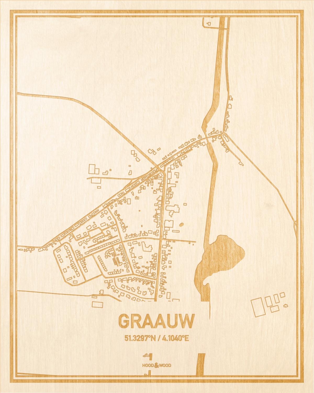 Het wegennet van de plattegrond Graauw gegraveerd in hout. Het resultaat is een prachtige houten kaart van een van de gezelligste plekken uit Zeeland voor aan je muur als decoratie.