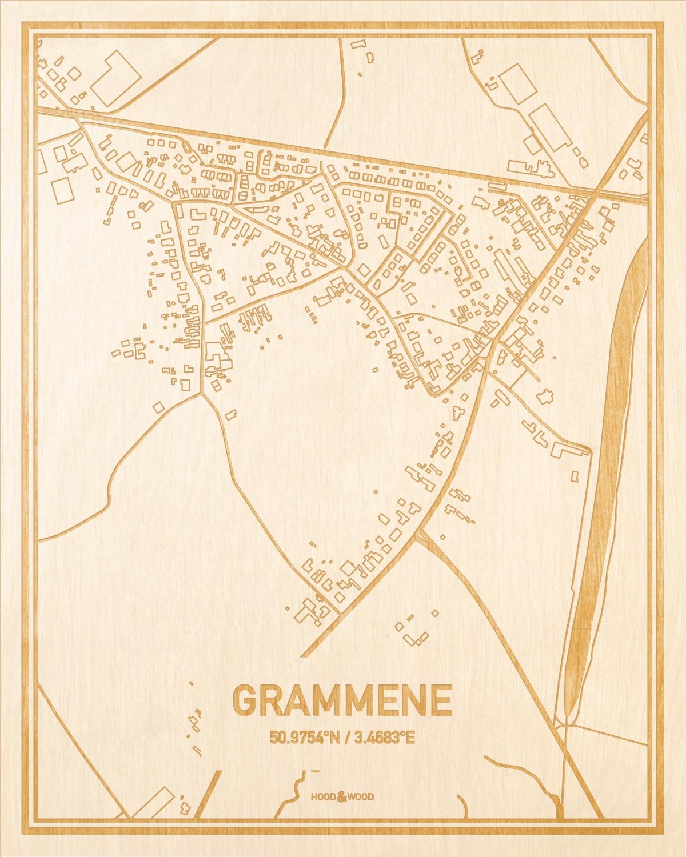 Het wegennet van de plattegrond Grammene gegraveerd in hout. Het resultaat is een prachtige houten kaart van een van de beste plekken uit Oost-Vlaanderen  voor aan je muur als decoratie.