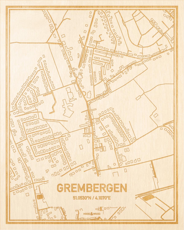 Het wegennet van de plattegrond Grembergen gegraveerd in hout. Het resultaat is een prachtige houten kaart van een van de beste plekken uit Oost-Vlaanderen  voor aan je muur als decoratie.