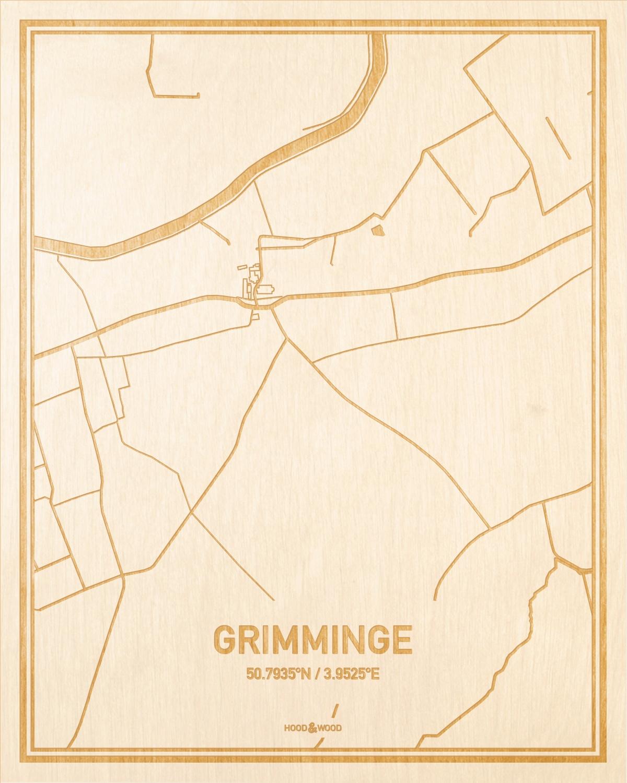 Het wegennet van de plattegrond Grimminge gegraveerd in hout. Het resultaat is een prachtige houten kaart van een van de mooiste plekken uit Oost-Vlaanderen  voor aan je muur als decoratie.
