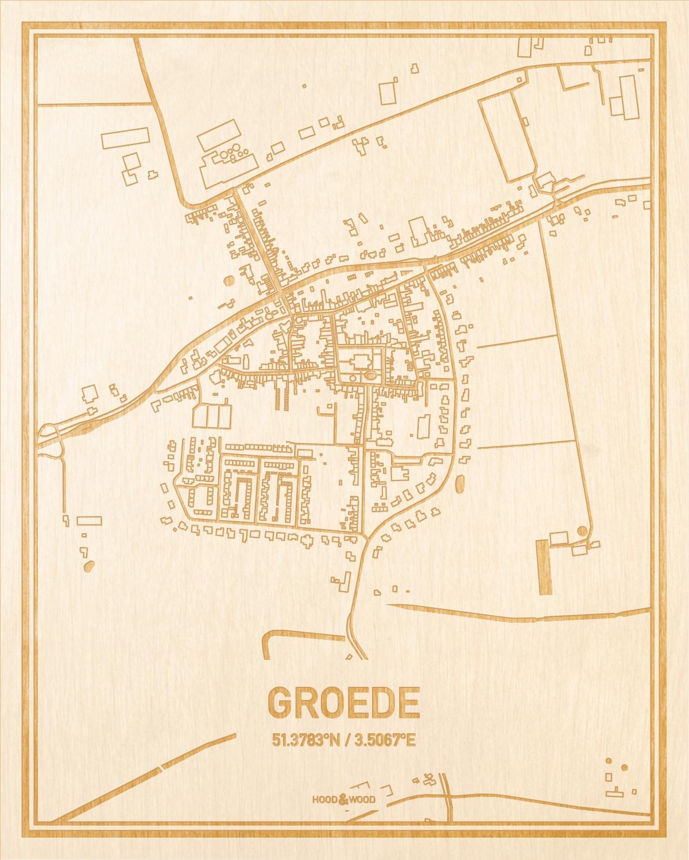 Het wegennet van de plattegrond Groede gegraveerd in hout. Het resultaat is een prachtige houten kaart van een van de beste plekken uit Zeeland voor aan je muur als decoratie.