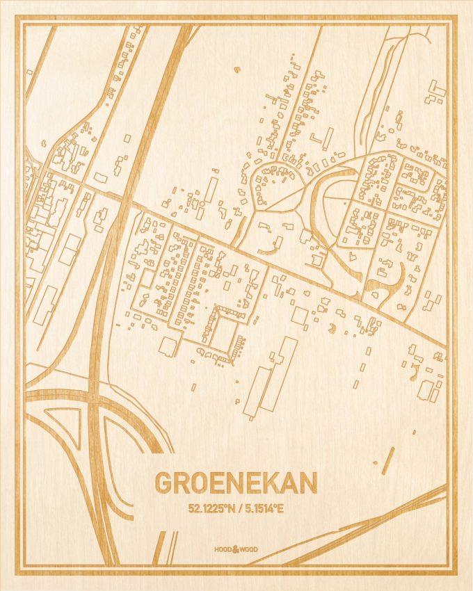 Het wegennet van de plattegrond Groenekan gegraveerd in hout. Het resultaat is een prachtige houten kaart van een van de mooiste plekken uit Utrecht voor aan je muur als decoratie.
