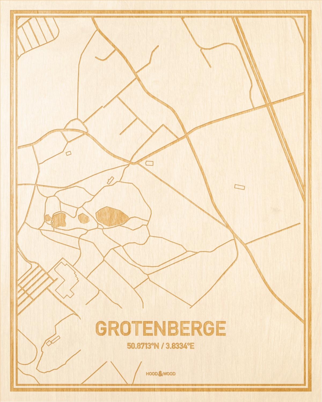 Het wegennet van de plattegrond Grotenberge gegraveerd in hout. Het resultaat is een prachtige houten kaart van een van de leukste plekken uit Oost-Vlaanderen  voor aan je muur als decoratie.