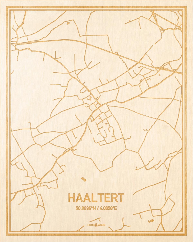 Het wegennet van de plattegrond Haaltert gegraveerd in hout. Het resultaat is een prachtige houten kaart van een van de charmantse plekken uit Oost-Vlaanderen  voor aan je muur als decoratie.