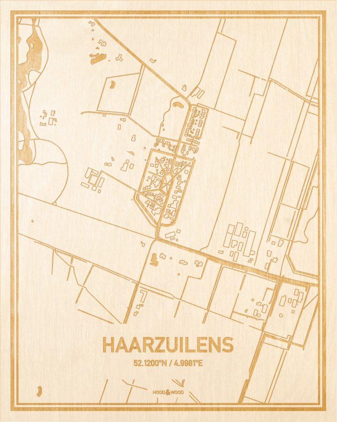 Het wegennet van de plattegrond Haarzuilens gegraveerd in hout. Het resultaat is een prachtige houten kaart van een van de gezelligste plekken uit Utrecht voor aan je muur als decoratie.