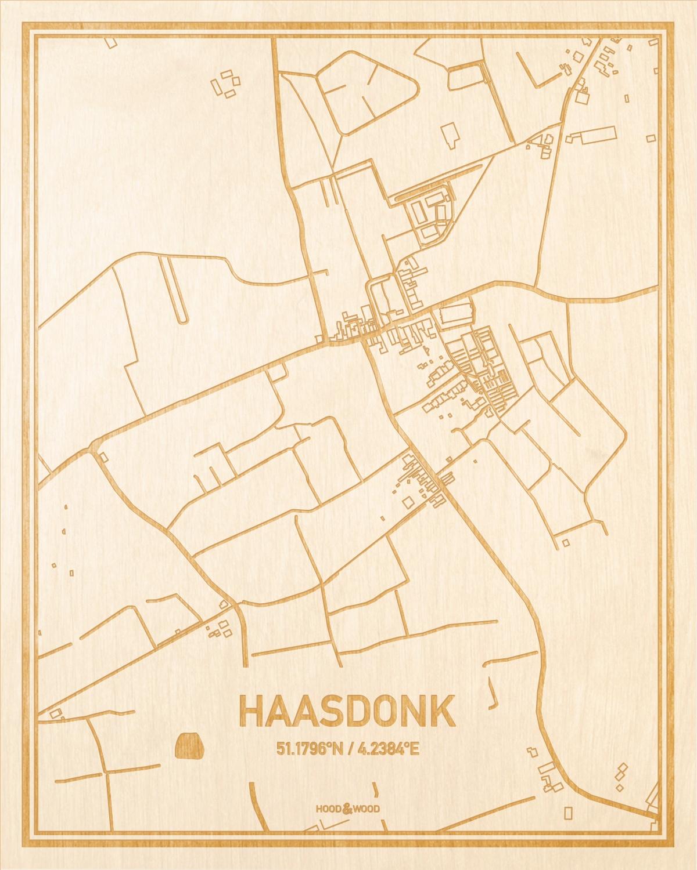 Het wegennet van de plattegrond Haasdonk gegraveerd in hout. Het resultaat is een prachtige houten kaart van een van de gezelligste plekken uit Oost-Vlaanderen  voor aan je muur als decoratie.