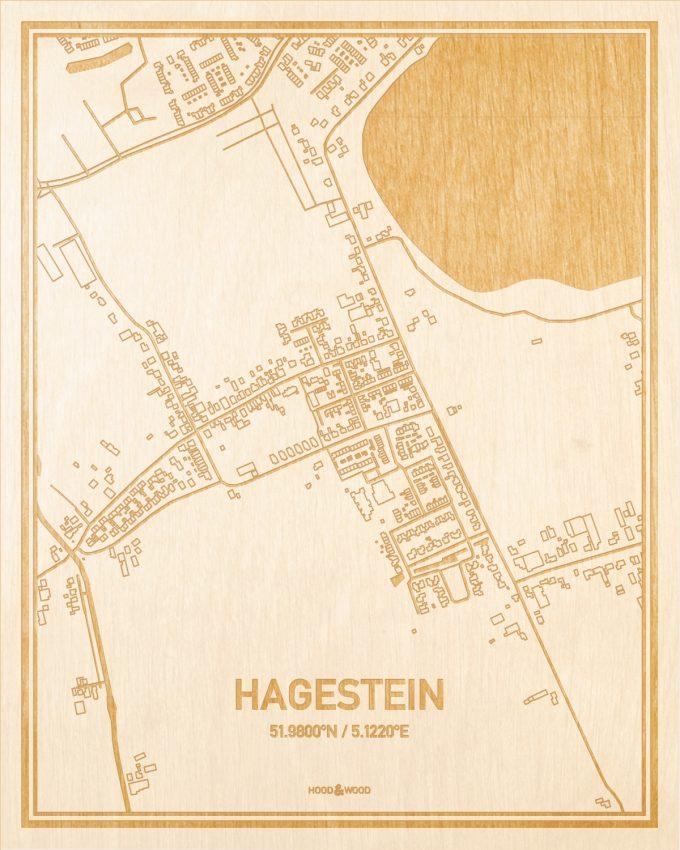 Het wegennet van de plattegrond Hagestein gegraveerd in hout. Het resultaat is een prachtige houten kaart van een van de gezelligste plekken uit Utrecht voor aan je muur als decoratie.