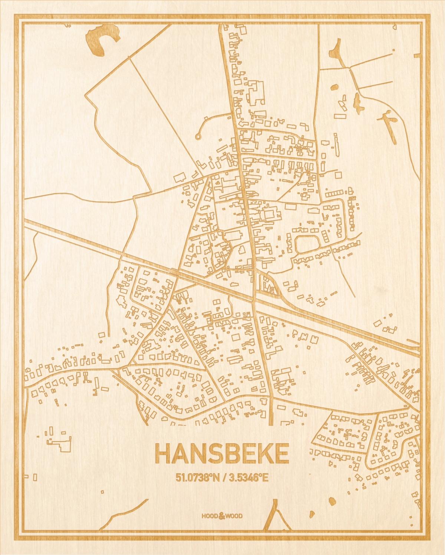 Het wegennet van de plattegrond Hansbeke gegraveerd in hout. Het resultaat is een prachtige houten kaart van een van de mooiste plekken uit Oost-Vlaanderen  voor aan je muur als decoratie.