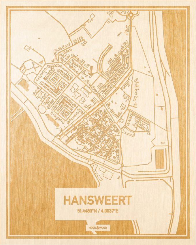 Het wegennet van de plattegrond Hansweert gegraveerd in hout. Het resultaat is een prachtige houten kaart van een van de charmantse plekken uit Zeeland voor aan je muur als decoratie.