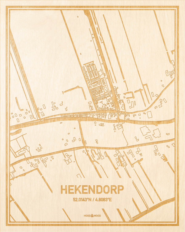 Het wegennet van de plattegrond Hekendorp gegraveerd in hout. Het resultaat is een prachtige houten kaart van een van de leukste plekken uit Utrecht voor aan je muur als decoratie.