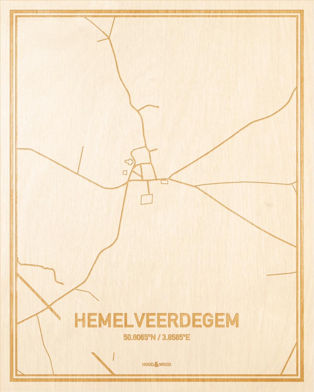 Het wegennet van de plattegrond Hemelveerdegem gegraveerd in hout. Het resultaat is een prachtige houten kaart van een van de gezelligste plekken uit Oost-Vlaanderen  voor aan je muur als decoratie.