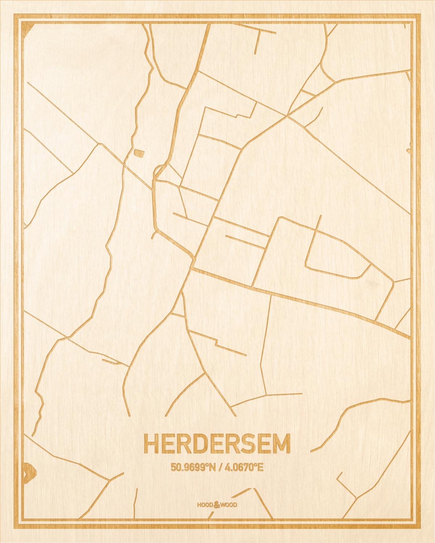 Het wegennet van de plattegrond Herdersem gegraveerd in hout. Het resultaat is een prachtige houten kaart van een van de mooiste plekken uit Oost-Vlaanderen  voor aan je muur als decoratie.