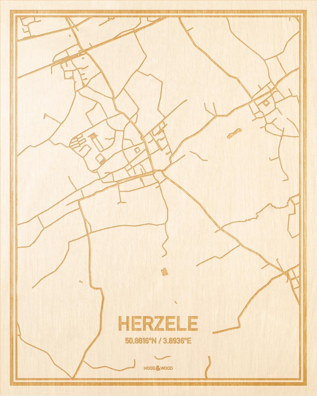 Het wegennet van de plattegrond Herzele gegraveerd in hout. Het resultaat is een prachtige houten kaart van een van de charmantse plekken uit Oost-Vlaanderen  voor aan je muur als decoratie.