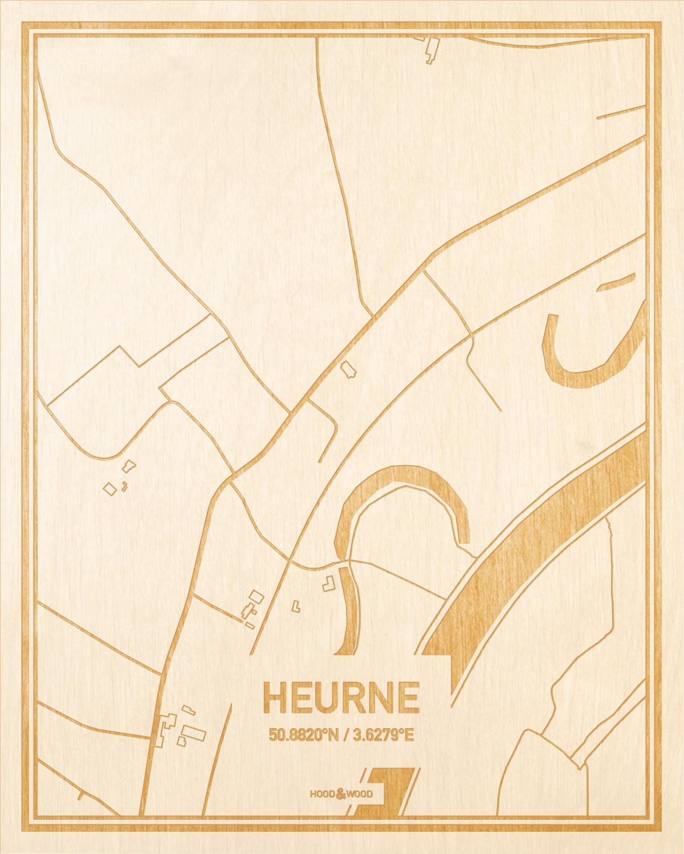Het wegennet van de plattegrond Heurne gegraveerd in hout. Het resultaat is een prachtige houten kaart van een van de leukste plekken uit Oost-Vlaanderen  voor aan je muur als decoratie.