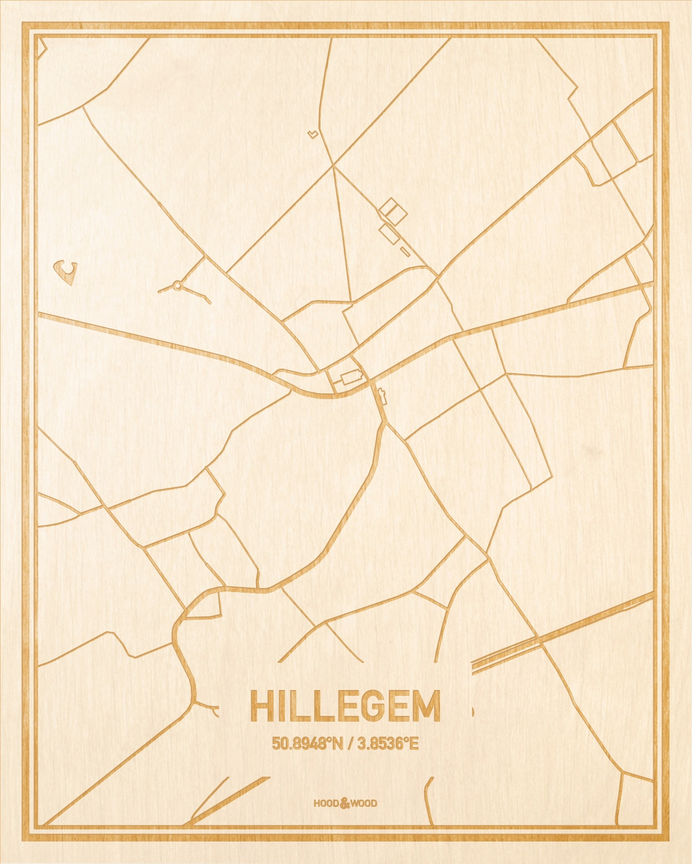 Het wegennet van de plattegrond Hillegem gegraveerd in hout. Het resultaat is een prachtige houten kaart van een van de charmantse plekken uit Oost-Vlaanderen  voor aan je muur als decoratie.