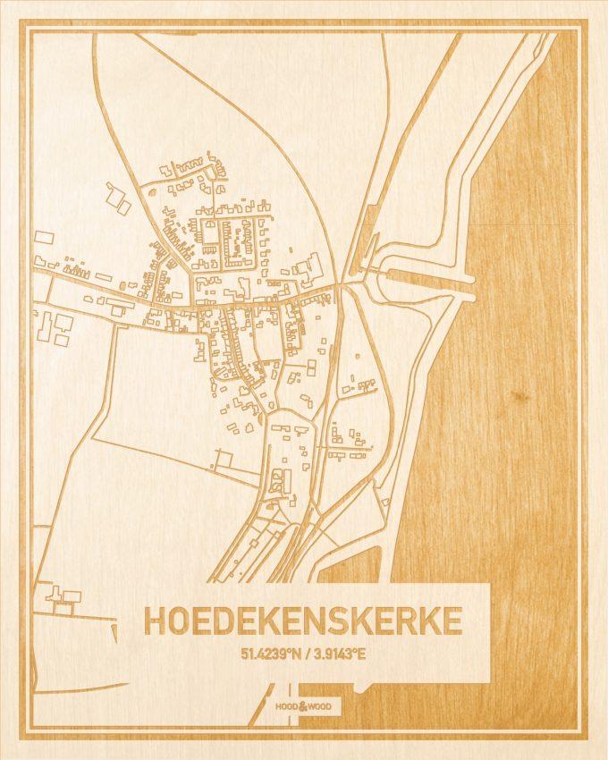 Het wegennet van de plattegrond Hoedekenskerke gegraveerd in hout. Het resultaat is een prachtige houten kaart van een van de charmantse plekken uit Zeeland voor aan je muur als decoratie.