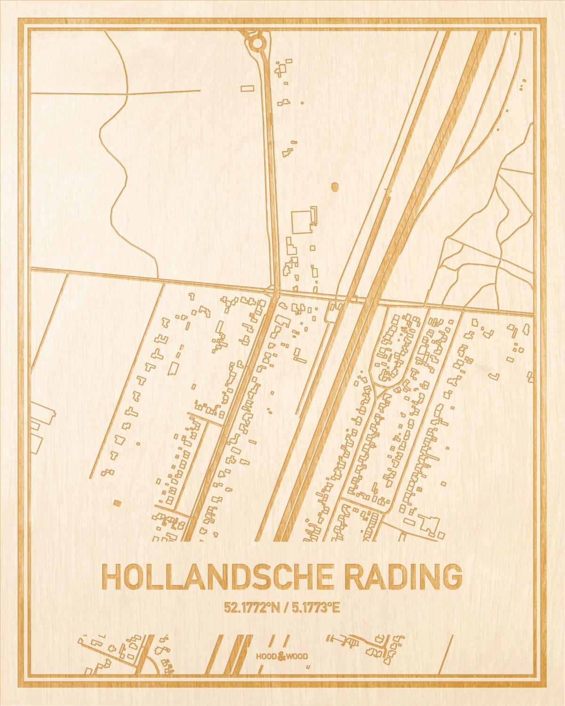 Het wegennet van de plattegrond Hollandsche Rading gegraveerd in hout. Het resultaat is een prachtige houten kaart van een van de gezelligste plekken uit Utrecht voor aan je muur als decoratie.
