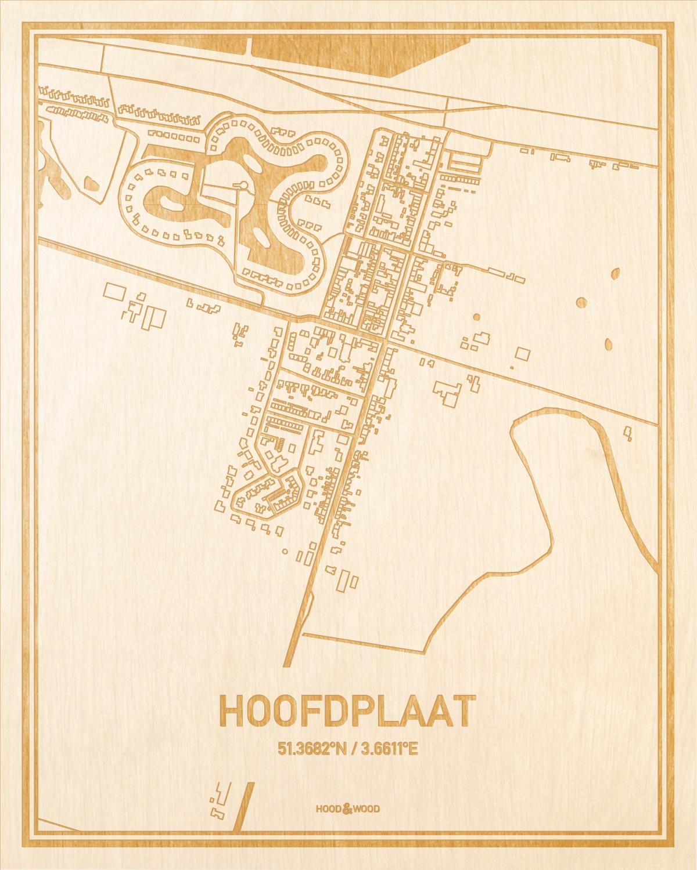 Het wegennet van de plattegrond Hoofdplaat gegraveerd in hout. Het resultaat is een prachtige houten kaart van een van de charmantse plekken uit Zeeland voor aan je muur als decoratie.