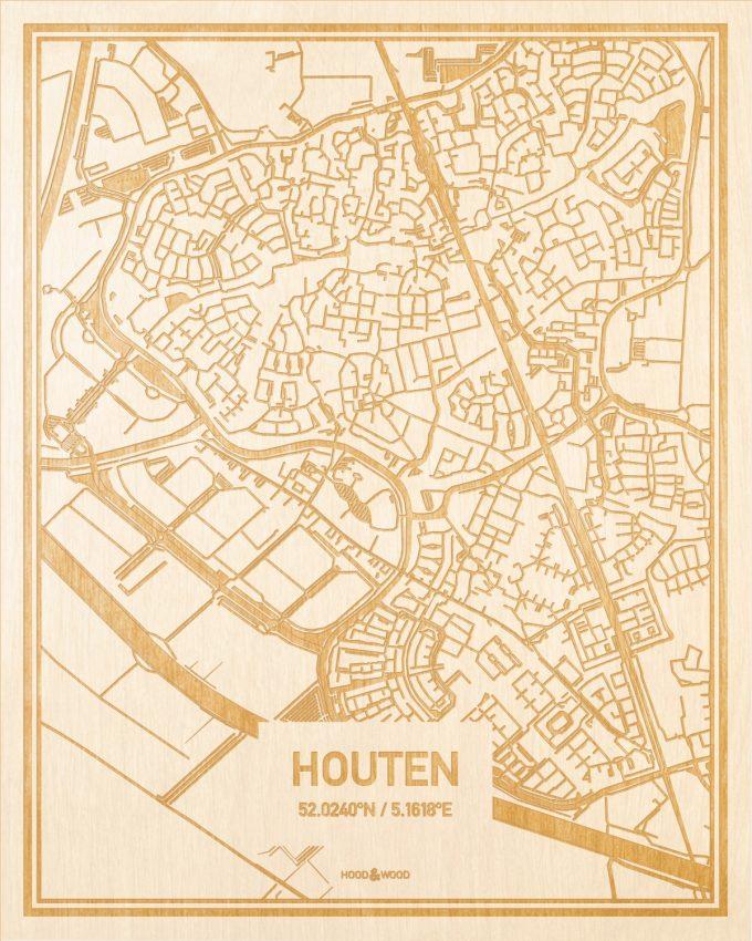 Het wegennet van de plattegrond Houten gegraveerd in hout. Het resultaat is een prachtige houten kaart van een van de mooiste plekken uit Utrecht voor aan je muur als decoratie.