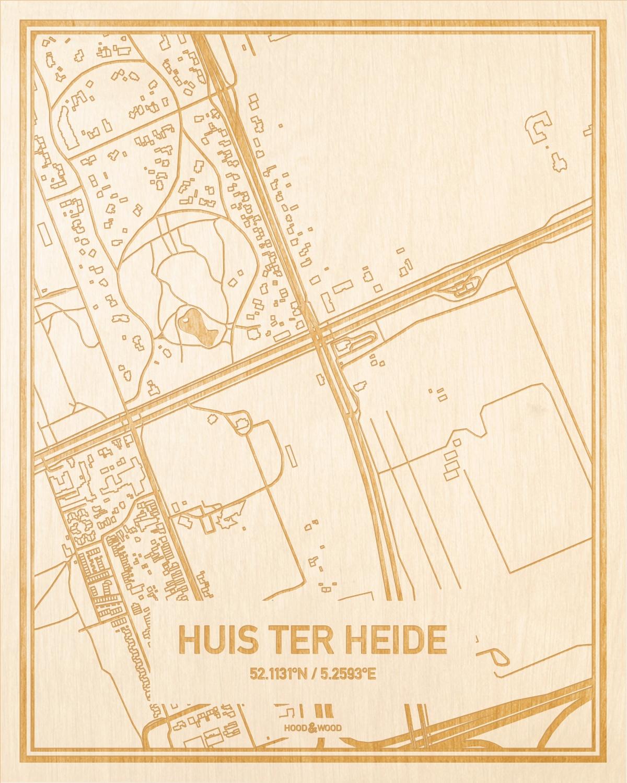 Het wegennet van de plattegrond Huis ter Heide gegraveerd in hout. Het resultaat is een prachtige houten kaart van een van de mooiste plekken uit Utrecht voor aan je muur als decoratie.