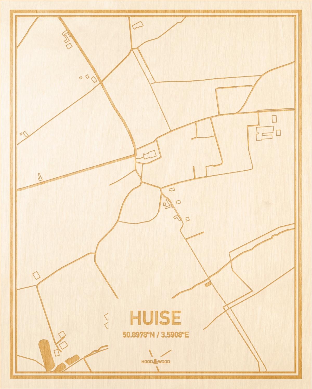 Het wegennet van de plattegrond Huise gegraveerd in hout. Het resultaat is een prachtige houten kaart van een van de gezelligste plekken uit Oost-Vlaanderen  voor aan je muur als decoratie.