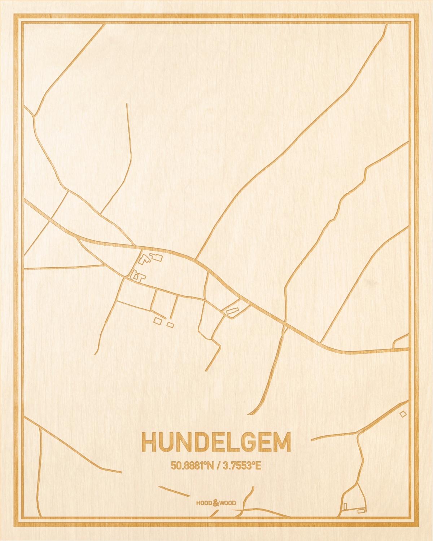 Het wegennet van de plattegrond Hundelgem gegraveerd in hout. Het resultaat is een prachtige houten kaart van een van de gezelligste plekken uit Oost-Vlaanderen  voor aan je muur als decoratie.