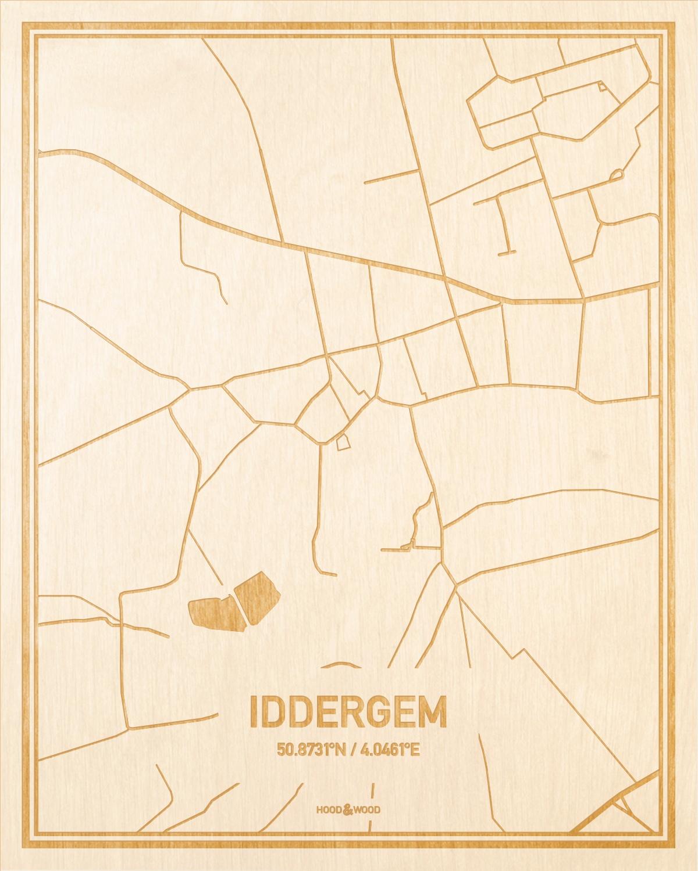 Het wegennet van de plattegrond Iddergem gegraveerd in hout. Het resultaat is een prachtige houten kaart van een van de mooiste plekken uit Oost-Vlaanderen  voor aan je muur als decoratie.