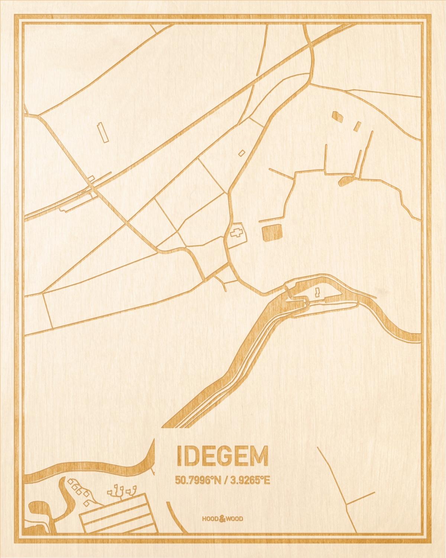Het wegennet van de plattegrond Idegem gegraveerd in hout. Het resultaat is een prachtige houten kaart van een van de beste plekken uit Oost-Vlaanderen  voor aan je muur als decoratie.