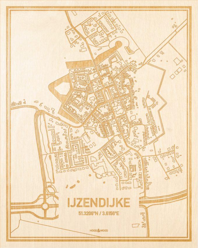 Het wegennet van de plattegrond IJzendijke gegraveerd in hout. Het resultaat is een prachtige houten kaart van een van de gezelligste plekken uit Zeeland voor aan je muur als decoratie.