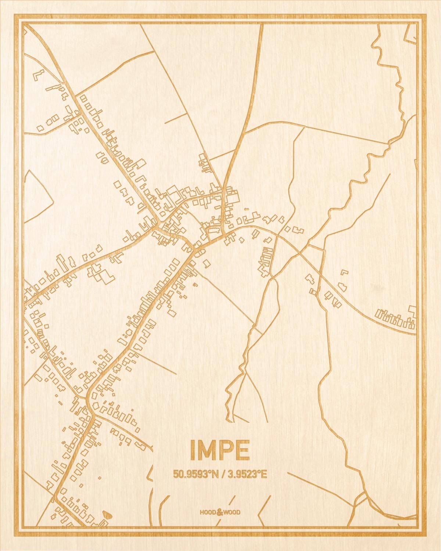 Het wegennet van de plattegrond Impe gegraveerd in hout. Het resultaat is een prachtige houten kaart van een van de beste plekken uit Oost-Vlaanderen  voor aan je muur als decoratie.